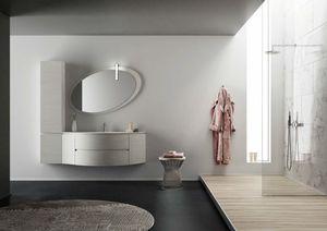 FREEDOM 31, Mobile lavabo singolo sospeso in HPL con specchio