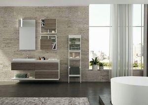 FREEDOM 38, Mobile lavabo singolo sospeso in nobilitato con specchio