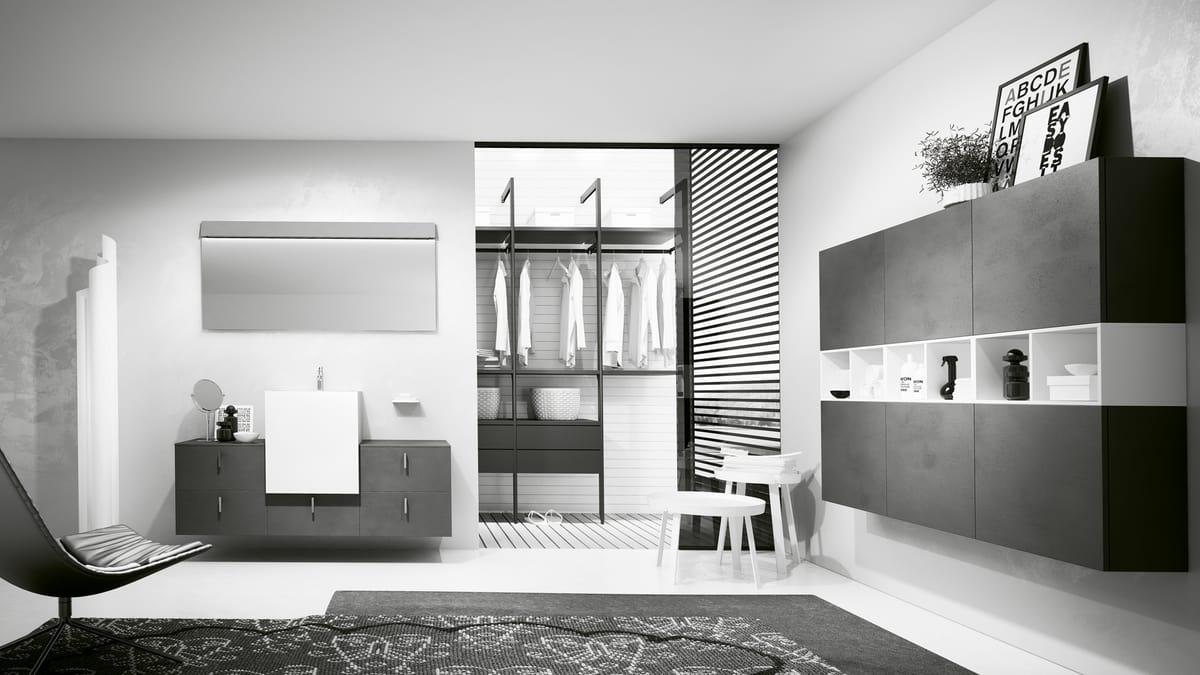 Composizione d arredo per bagno in grigio antracite idfdesign