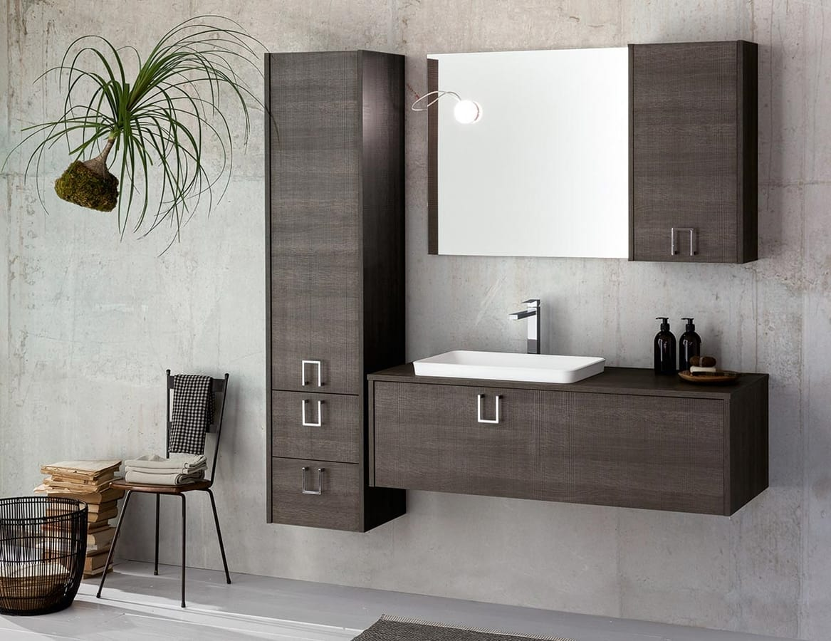 Mobile da bagno modulare in legno scuro idfdesign for Aziende mobili bagno