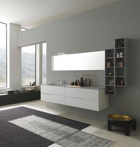 Lime 1.0 comp.03, Mobile con lavabo per bagno, piano in Deimos