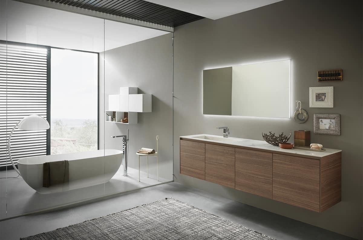 Mobile per bagno ricercato con lavabo in gres lucido for Mobili bagno azzurra prezzi