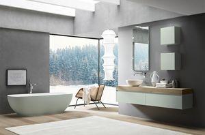 Lime 2.0 comp.19, Mobile bagno con lavado tondo da appoggio in Tecnoril