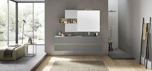 Lime 2.0 comp.208, Mobile da bagno con lavabo integrato, pensile con vani a giorno