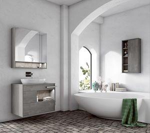 Lume comp.02, Mobile bagno con lavabo ovale