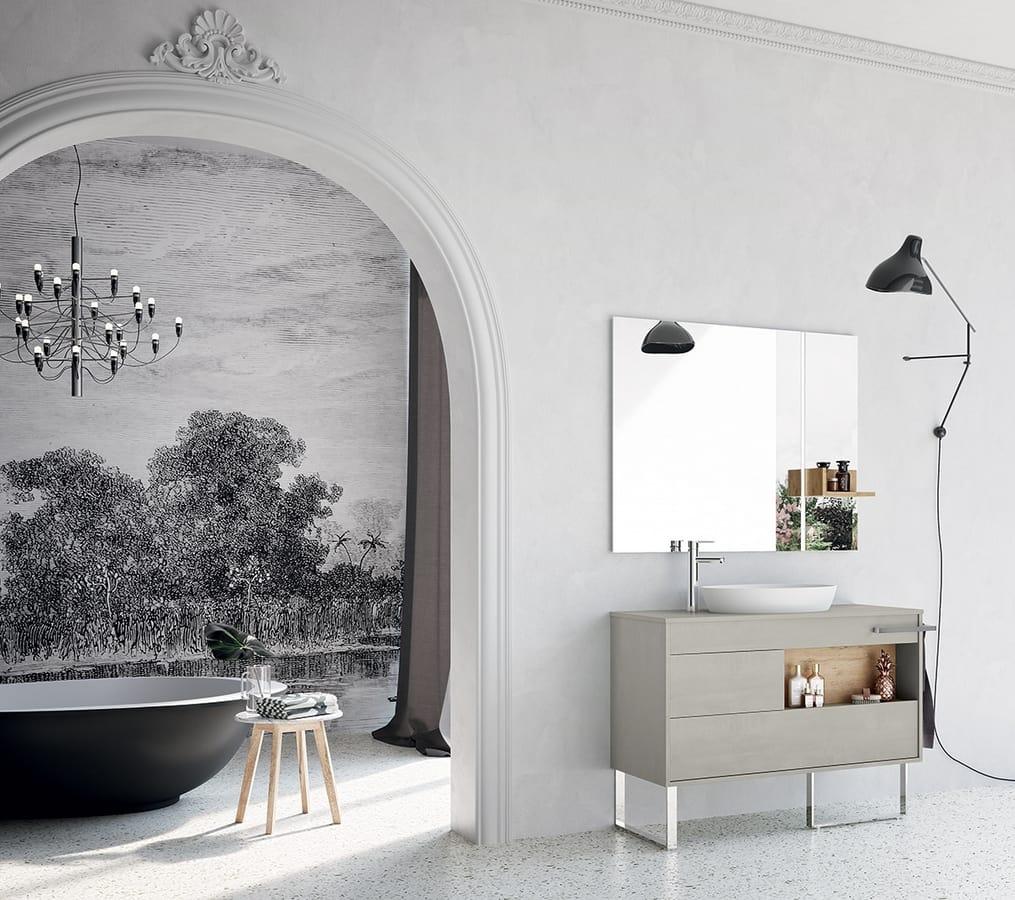 Composizione per bagno con mobili senza maniglia idfdesign for Arredo bagno mobili senza lavabo
