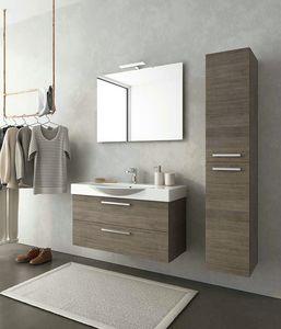 MANHATTAN M13, Mobile lavabo sospeso in legno con cassetti
