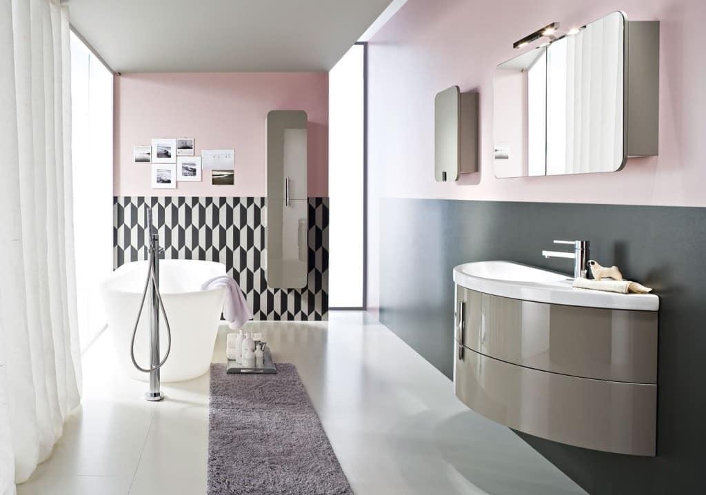 Mobile per bagno a forma di semicerchio con capiente - Mobile bagno moon ...