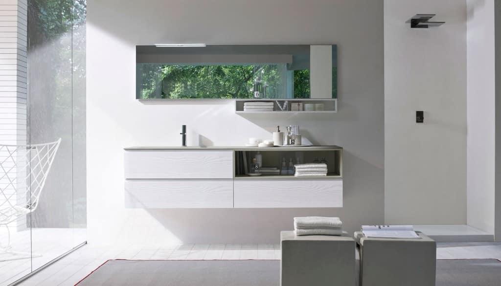 Armadio da bagno, con piano in cristallo sabbiato | IDFdesign