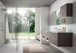 My time comp.01, Mobile moderno da bagno, con lavabo in cristallo extrachiaro