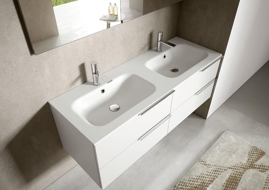 Mobile per bagno in laccato bianco, con due lavabi integrati | IDFdesign