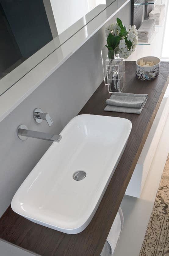 Arredo per bagno componibile con lavabo ovale in ceramica idfdesign - Arredo bagno componibile ...