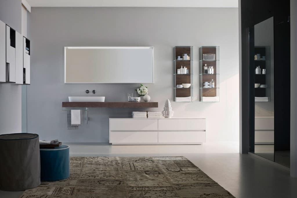 Arredo per bagno componibile con lavabo ovale in ceramica idfdesign for Arredo bagno componibile