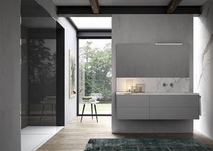 Sense comp.02, Mobile da bagno con lavabo in gres effetto marmo