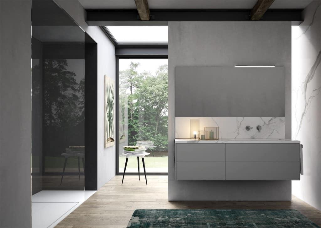 Mobile da bagno con lavabo in gres effetto marmo idfdesign for Mobili bagni prezzi