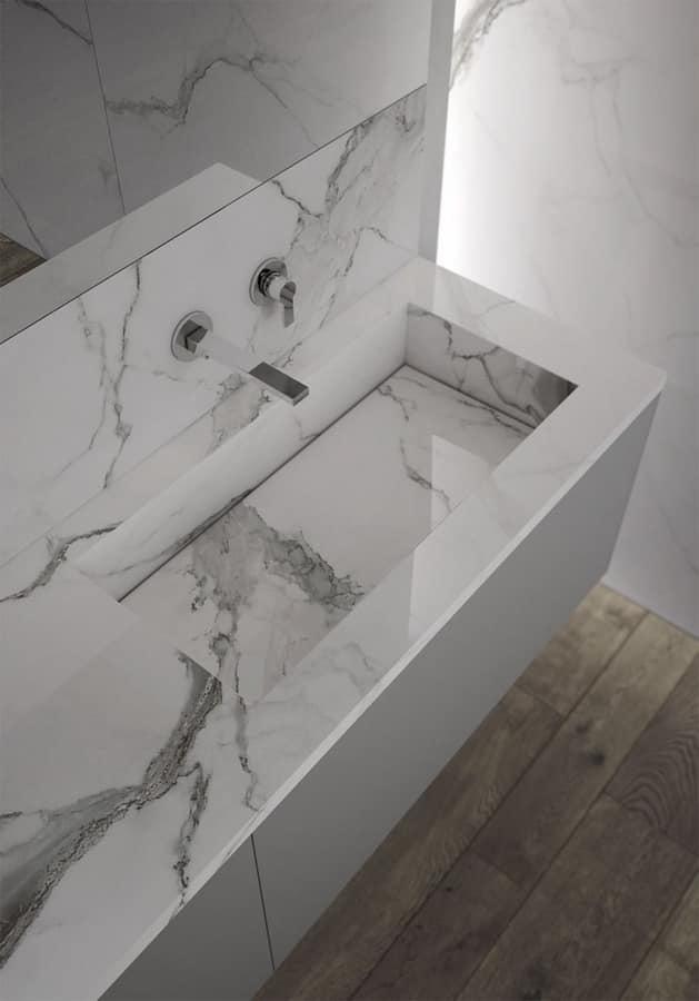 Mobile da bagno con lavabo in gres effetto marmo idfdesign - Bagno effetto marmo ...