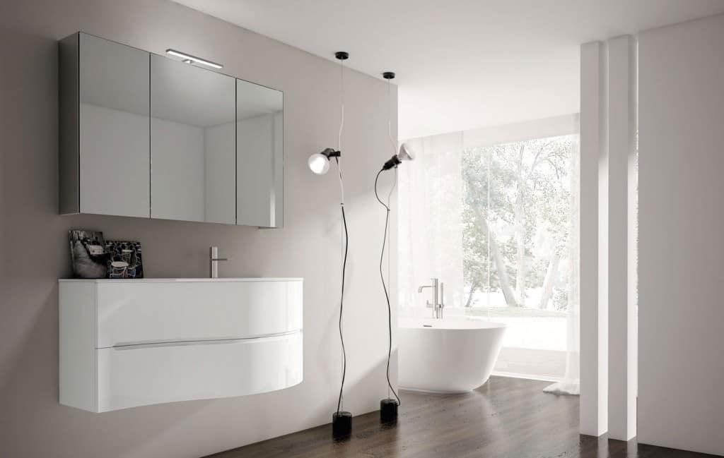 Mobile da bagno bianco lucido con lavabo in crisallo idfdesign - Mobile bagno bianco lucido ...