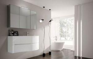 Smyle comp.07, Mobile da bagno bianco lucido, con lavabo in crisallo