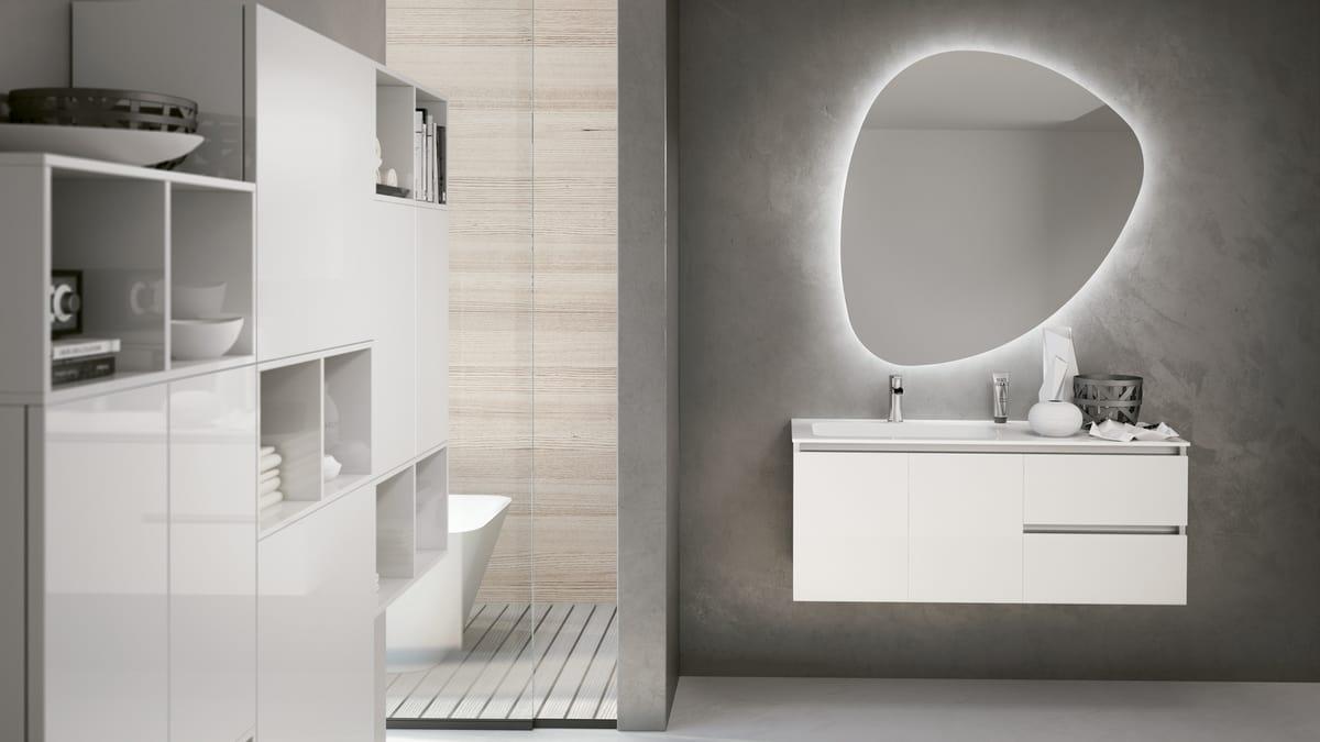 Mobili Da Bagno Bianco Lucido : Mobile bagno fiona bianco opaco facciata rovere specchio