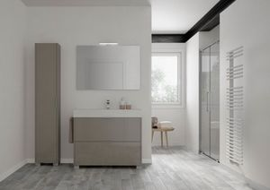 Basic comp.01, Mobile da bagno compatto, con colonna a terra