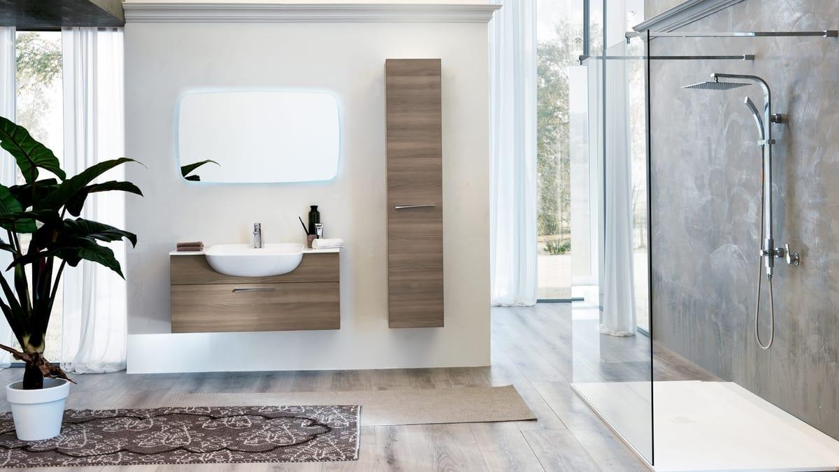 Arredo bagno completo con colonna portaoggetti idfdesign for Arredo bagno colonna