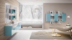 BLUES BL-04, Arredo bagno con doppia specchiera e doppio lavabo