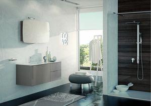 BLUES BL-12, Mobile tortora scuro lucido per bagno
