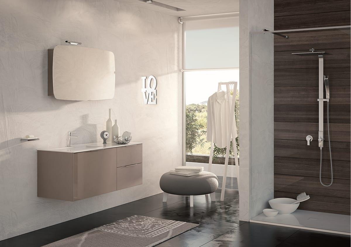 Mobile tortora scuro lucido per bagno | IDFdesign