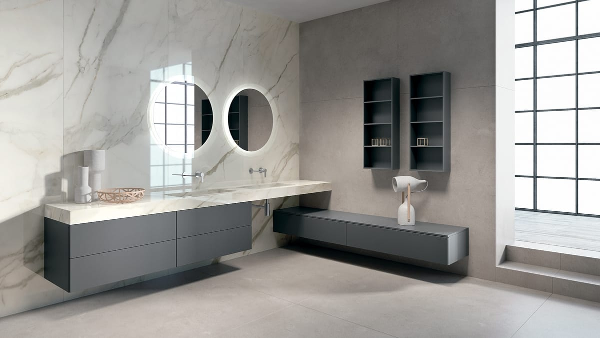 Arredo completo per bagno con doppio lavabo | IDFdesign