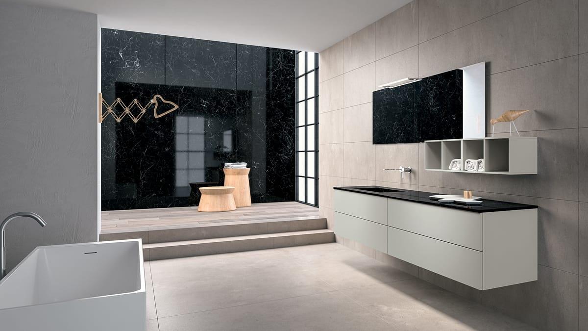 Composizione arredo per bagno con cassettiera a muro idfdesign
