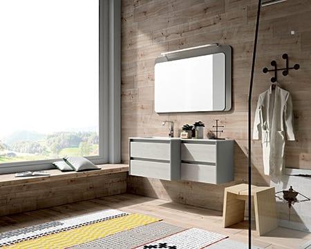 Dress 2.0 comp.05, Mobile da bagno in legno con specchiera