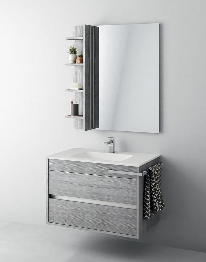 Mobile bagno con specchiera e portaoggetti idfdesign - Specchiera bagno prezzi ...
