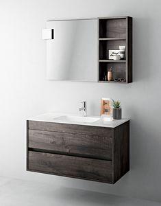 Duetto comp.03, Mobile salvaspazio per bagno con specchiera e mensola