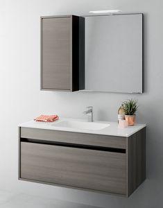 Duetto comp.10, Mobile bagno salvaspazio con cassetti senza maniglia