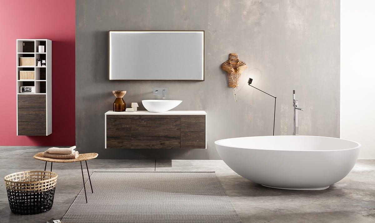Mobile bagno modulare con lavabo da appoggio idfdesign