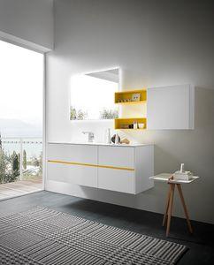 Lime 2.0 comp.05, Luminoso mobile per arredo bagno, laccato bianco