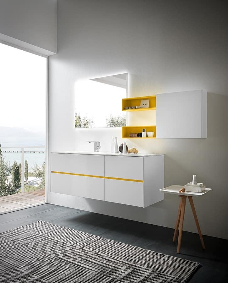 Luminoso mobile per arredo bagno, laccato bianco   IDFdesign