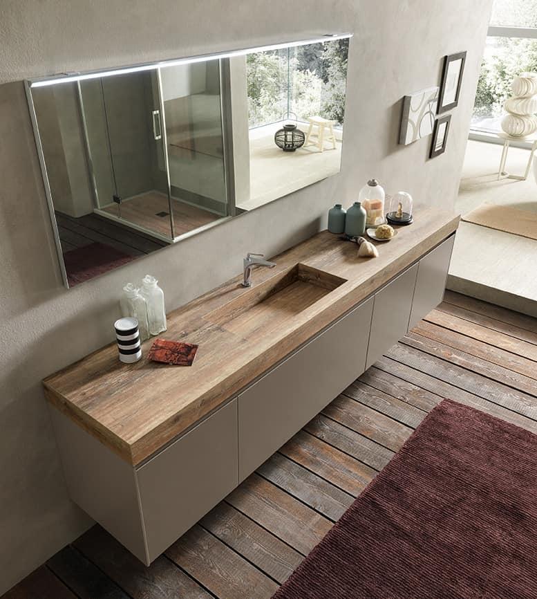 Ricercato mobile da bagno con piano e lavabo effetto legno | IDFdesign