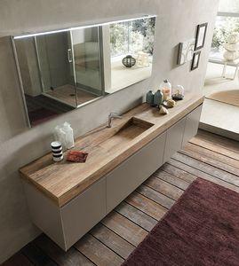 Lime 2.0 comp.16, Ricercato mobile da bagno con piano e lavabo effetto legno