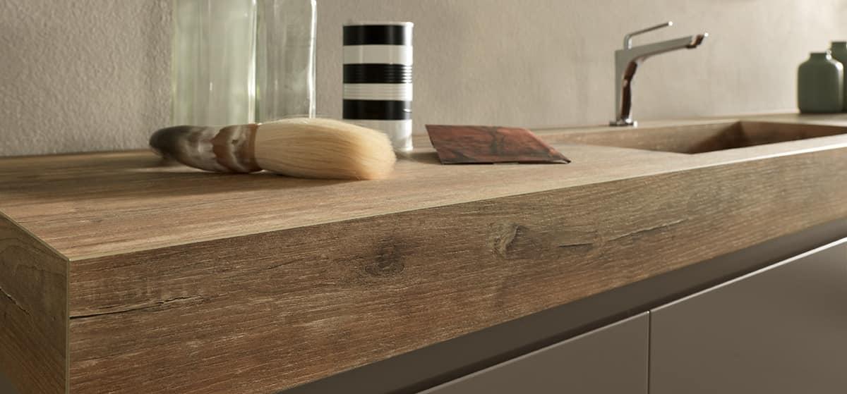 Ricercato mobile da bagno con piano e lavabo effetto legno - Piano lavandino bagno ...