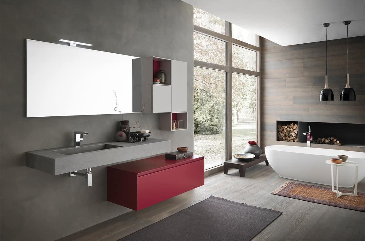 Mobile da parete per bagno con elementi contenitori for Elementi bagno