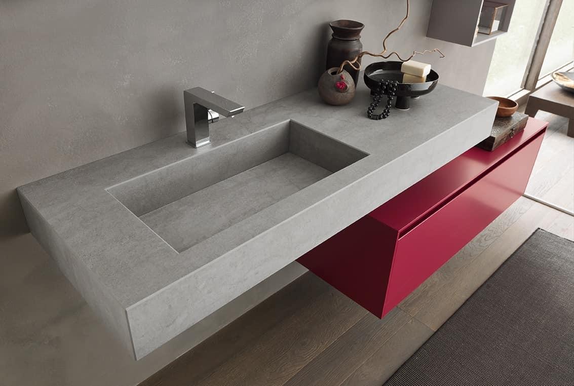 Mobile da parete per bagno con elementi contenitori idfdesign - Contenitori per bagno ...