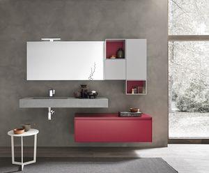 Lime 2.0 comp.18, Mobile da parete per bagno, con elementi contenitori
