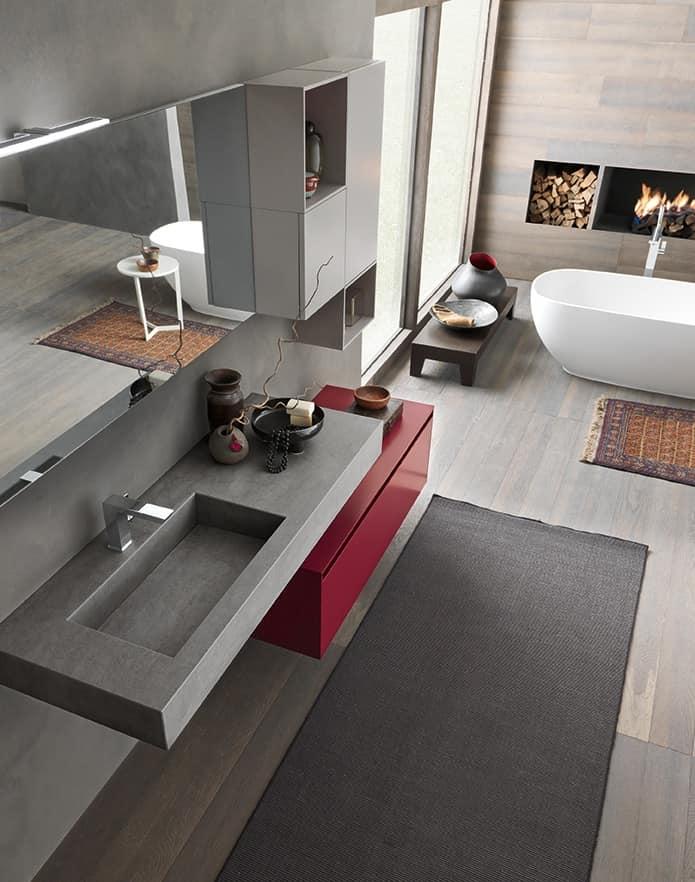 Mobile da parete per bagno con elementi contenitori idfdesign - Specchi contenitori per bagno ...