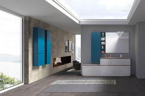 Lime 2.0 comp.22, Mobile da bagno con lavabo effetto legno