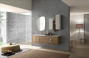 Lime Ø comp.49, Elegante mobile da bagno sospeso, con lavabo integrato