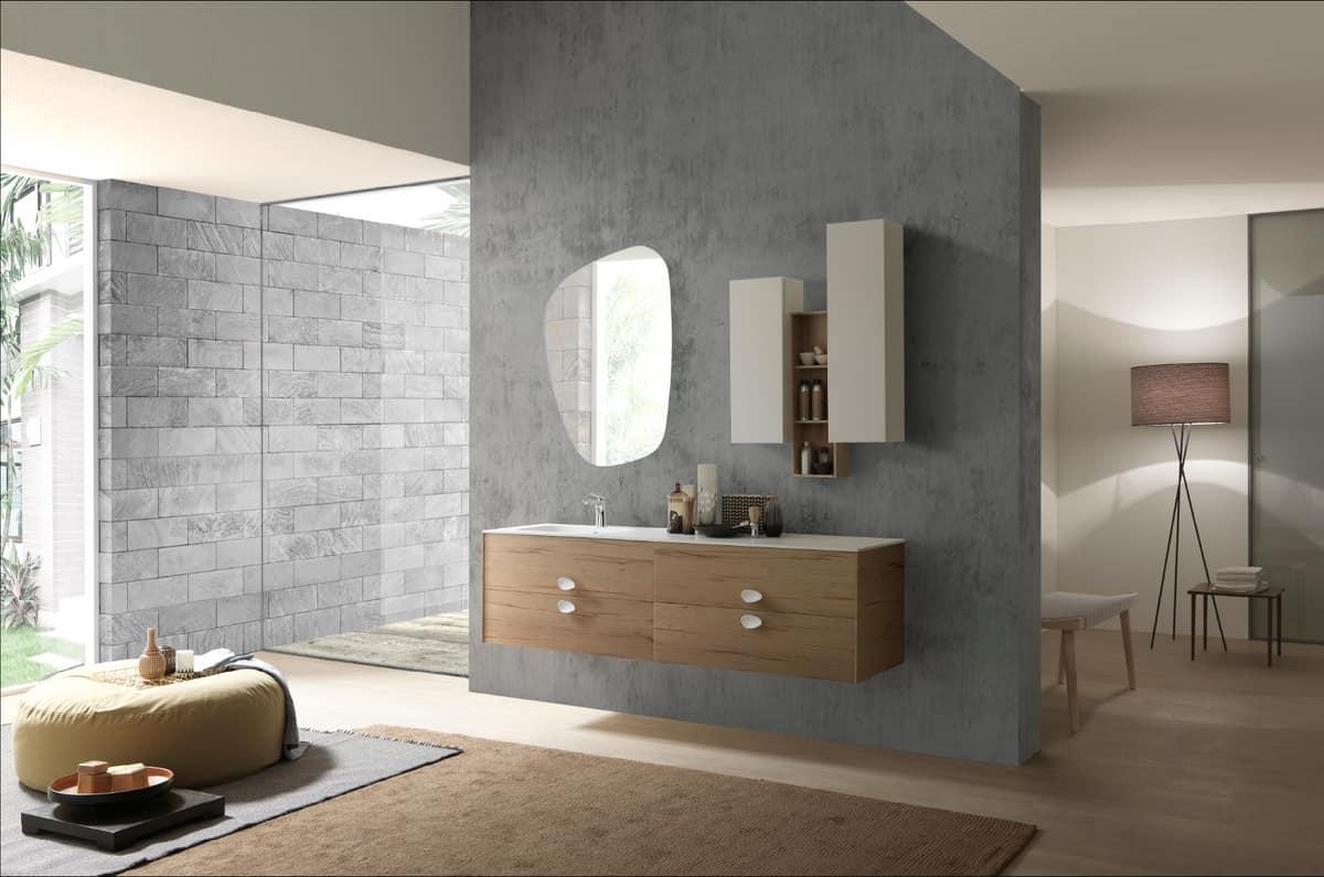 Elegante mobile da bagno sospeso con lavabo integrato idfdesign