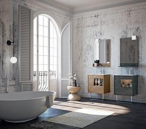 Lume comp.04, Mobili da bagno con specchiera e cassetti