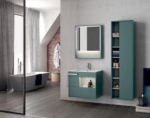 Lume comp.14, Mobile da bagno a muro con specchiera