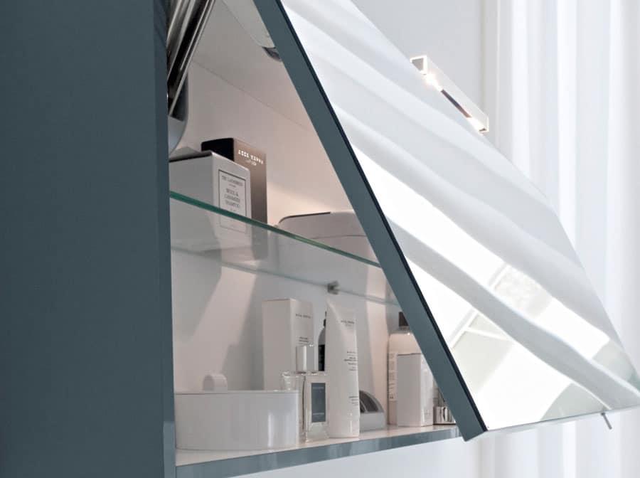 Mobile monoblocco per bagno con piano in cristallo idfdesign - Mobile bagno fly ...